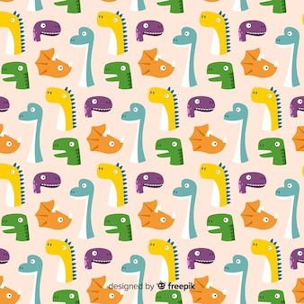 Flaches dinosaurier-muster