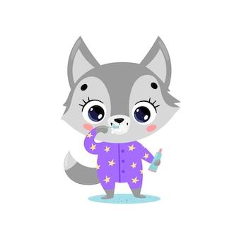 Flaches doodle niedlichen cartoon-baby-wolf beim zähneputzen. tiere putzen ihre zähne.