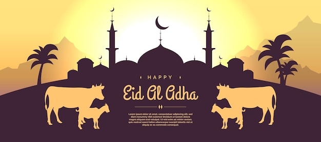 Flaches eid al adha mubarak designbanner