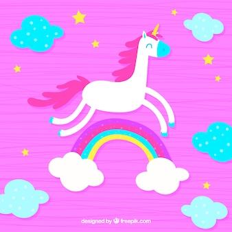 Flaches einhorn, wolken und regenbogen