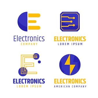 Flaches elektronik-logo-paket