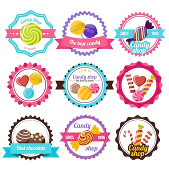 Flaches emblem der süßen süßigkeit