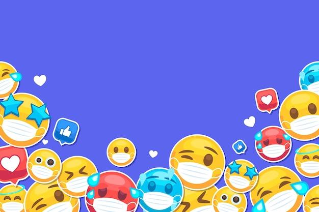 Flaches emoji mit gesichtsmaskenhintergrund