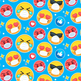 Flaches emoji mit gesichtsmaskenmuster