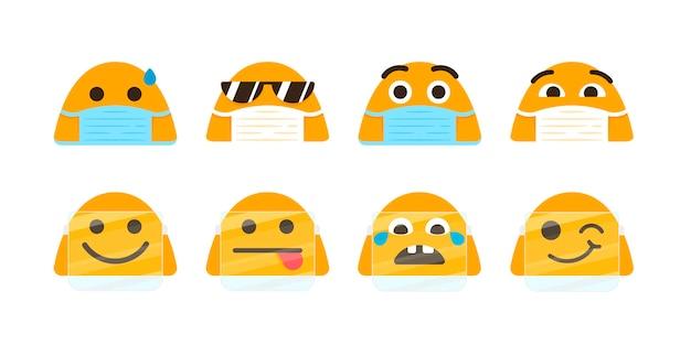 Flaches emoji mit gesichtsmaskenset