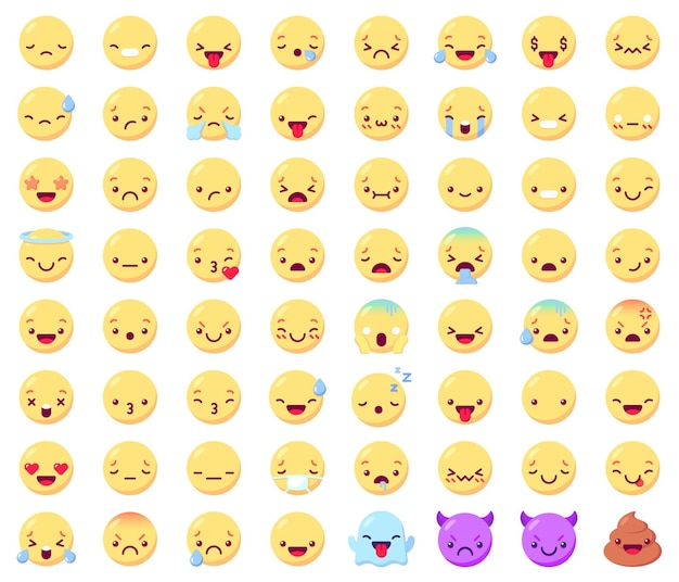 Flaches emoticon-emoj-set