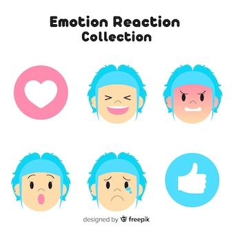 Flaches emoticon-reaktionskollektiv
