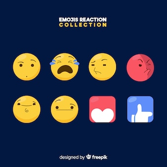 Flaches emoticon-reaktionskollektiv
