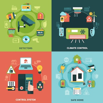 Flaches entwurfskonzept der haussicherheit mit klimatisierung, überwachungssystem, detektoren, isolierte vektorillustration des sicheren eigentums
