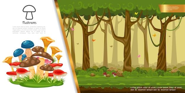 Flaches essbares pilzbuntes konzept mit verschiedenen pilzen, die im sommerwald wachsen