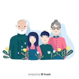 Flaches familienportrait mit blättern