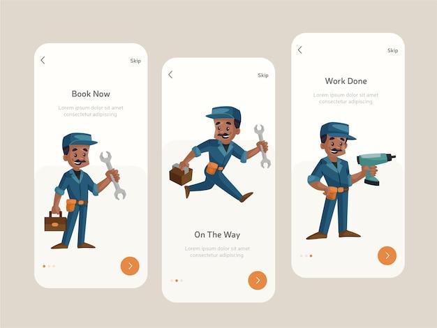 Flaches farbiges design des begrüßungsbildschirms für mobile apps