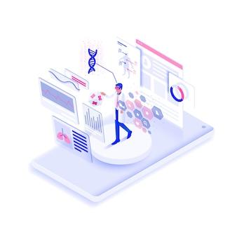 Flaches farbmodernes isometrisches illustrationsdesign