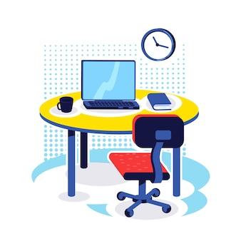 Flaches farbobjekt am büroarbeitsplatz. schreibtisch mit computer. unternehmensjob. pc-monitor auf dem tisch. heimarbeitsplatz. arbeitsbereich isolierte karikaturillustration für webgrafikdesign und -animation