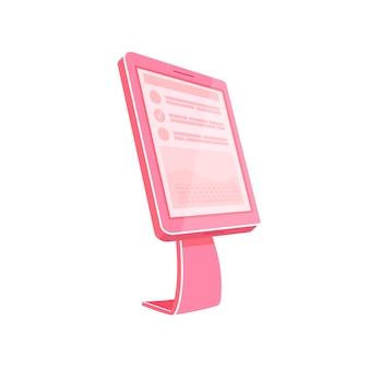Flaches farbobjekt des rosa selbstbedienungskiosks