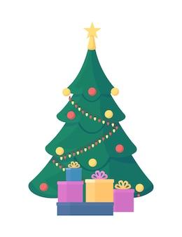 Flaches farbobjekt des weihnachtsbaums. festliche dekoration. winterferiengeschenk. eingepackte geschenke. weihnachtsfeier isolierte karikaturillustration für webgrafikdesign und -animation