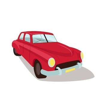Flaches farbvektorobjekt des roten vintagen autos. altmodisches veraltetes auto. antike autovermietung und reparaturservice isolierte karikaturillustration für webgrafikdesign und -animation