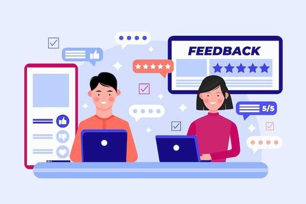 Flaches feedback-konzept mit geräten