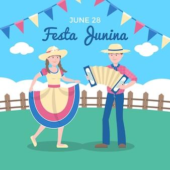 Flaches festa junina konzept