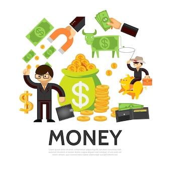 Flaches finanzkonzept mit geschäftsmann-geldbörsengeldkuhsack der goldmünzenhand, die magneten hält