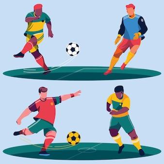 Flaches fußballspielerpaket