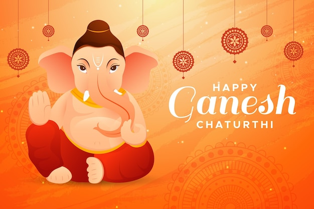 Flaches ganesh chaturthi illustrationskonzept