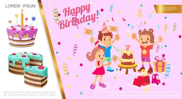 Flaches geburtstagsfeierkonzept mit kindern, die geburtstagskonfetti-geschenkboxen-kuchenillustration feiern