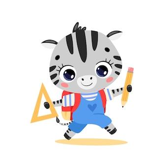 Flaches gekritzel des süßen cartoon-zebras, das zur schule geht. tiere zurück in die schule