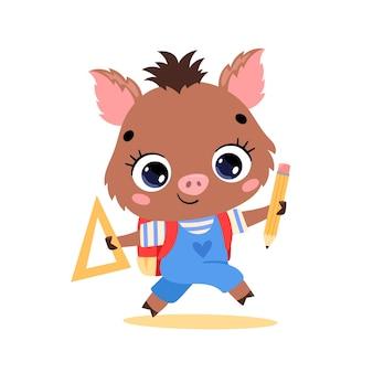 Flaches gekritzel eines niedlichen cartoon-wildschweins, das zur schule geht. tiere zurück in die schule