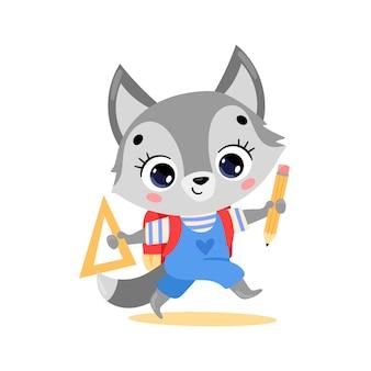 Flaches gekritzel eines süßen cartoon-wolfs, der zur schule geht. tiere zurück in die schule