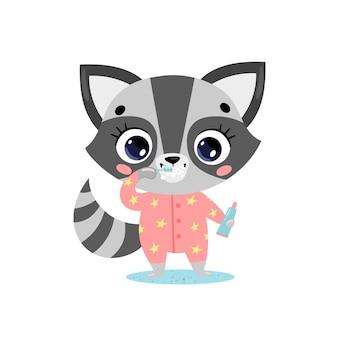 Flaches gekritzel niedlicher cartoon-baby-waschbär, der zähne putzt. tiere putzen ihre zähne.