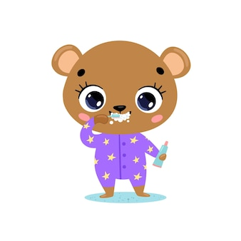 Flaches gekritzel niedlicher cartoon-babybär, der zähne putzt. tiere putzen ihre zähne.