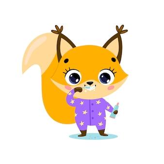 Flaches gekritzel niedliches cartoon-baby-eichhörnchen, das zähne putzt. tiere putzen ihre zähne.