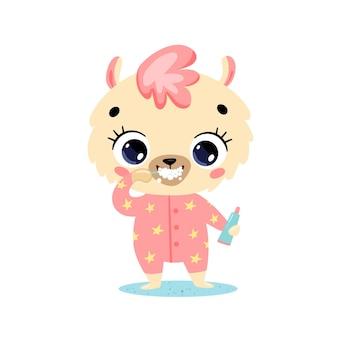 Flaches gekritzel niedliches cartoon-baby-lama, das die zähne putzt. tiere putzen ihre zähne.