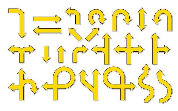 Flaches gelbes straßenschildaufklebersatzsymbol der navigation oder des richtungspfeils verschiedener zeigerverkehr
