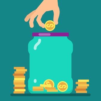 Flaches geldsparkonzept mit goldenen münzen und glasvektorillustration