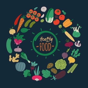 Flaches gemüse. farbe karotte zwiebel gurke tomaten kartoffel aubergine für salat. vegane bio-lebensmittel