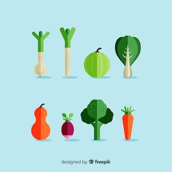 Flaches gemüse und fruchthintergrund