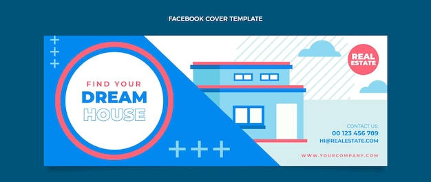 Flaches geometrisches immobilien-facebook-cover