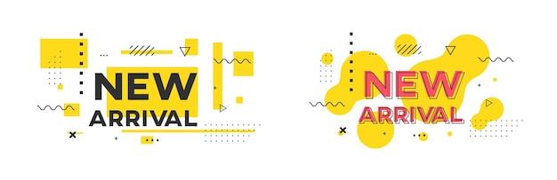 Flaches geometrisches promo-banner-vektordesign der neuen ankunft.
