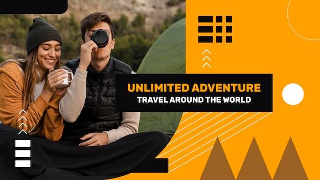 Flaches geometrisches reise-youtube-vorschaubild Kostenlosen Vektoren