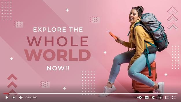 Flaches geometrisches reise-youtube-vorschaubild
