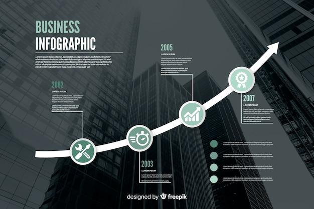 Flaches geschäft infographic mit foto