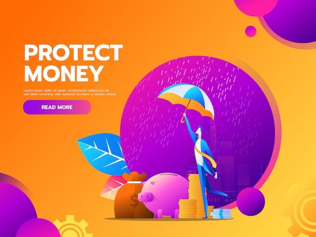 Flaches geschäftsfinanz- und -geldschutzkonzept mit geschäftsmann-griffregenschirm.