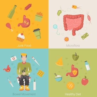 Flaches gesundes magen-darm-darmorgan-vektorkonzept. junk food mikroflora stuhlgang diät
