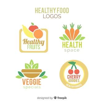 Flaches gesundes nahrungsmittellogosatz