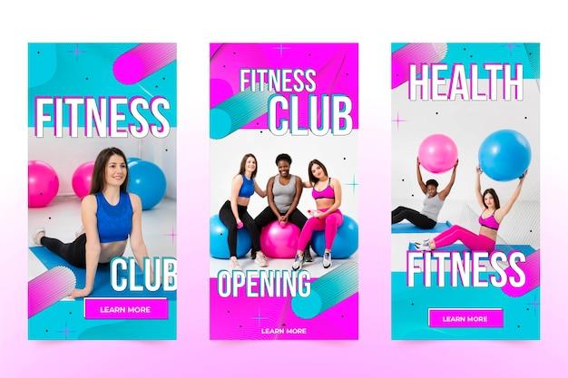 Flaches gesundheits- und fitness-story-paket mit foto