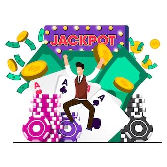 Flaches glück-gewinn-kasino-jackpot-vektor-illustration.
