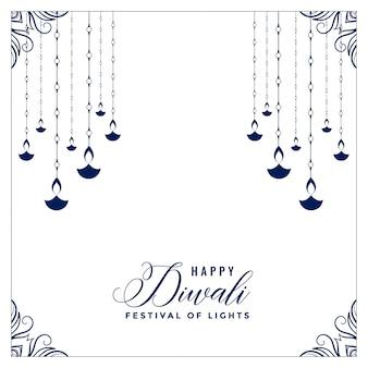 Flaches glückliches diwali plakat der art mit hängendem diya