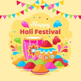 Flaches glückliches holi gulal festivaldesign